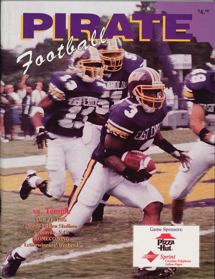The ECU football program cover from the ECU vs. Temple homecoming game, which took place on October 21, 1995. #FunFactFriday #JoynerLibrary