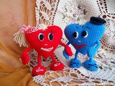 Вязаная крючком игрушка влюблённые сердца - мастер-класс. Как связать сердечко - описание с фото. Игрушки ручной работы на каркасе. Заказать, купить.