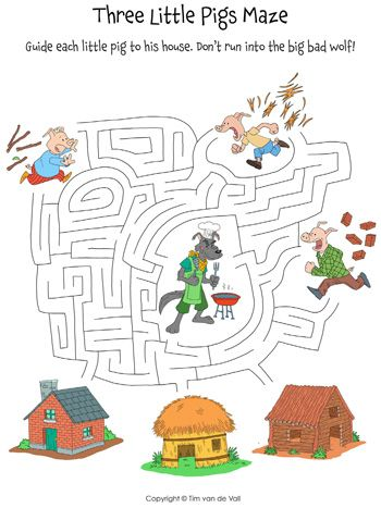 Guide the Three Little Pigs to their homes. Don't run into the Big Bad Wolf!