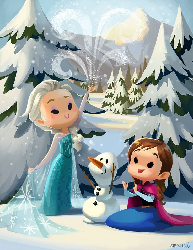 "lewsteph: ""Cutie Elsa, Anna & Olaf Prints available on my Etsy: https://www.etsy.com/listing/219920120/cuties """