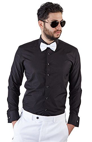 New Mens Tailored Slim Fit Black Tuxedo Shirt French Cuff Wrinkle Free By Azar - http://www.darrenblogs.com/2017/01/new-mens-tailored-slim-fit-black-tuxedo-shirt-french-cuff-wrinkle-free-by-azar/