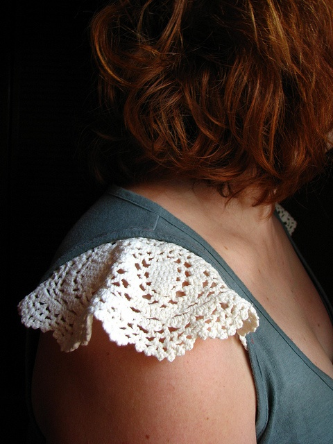 Crochet / lace flutter cap sleeves added to basic tank top. (Tank Top Upcycle)