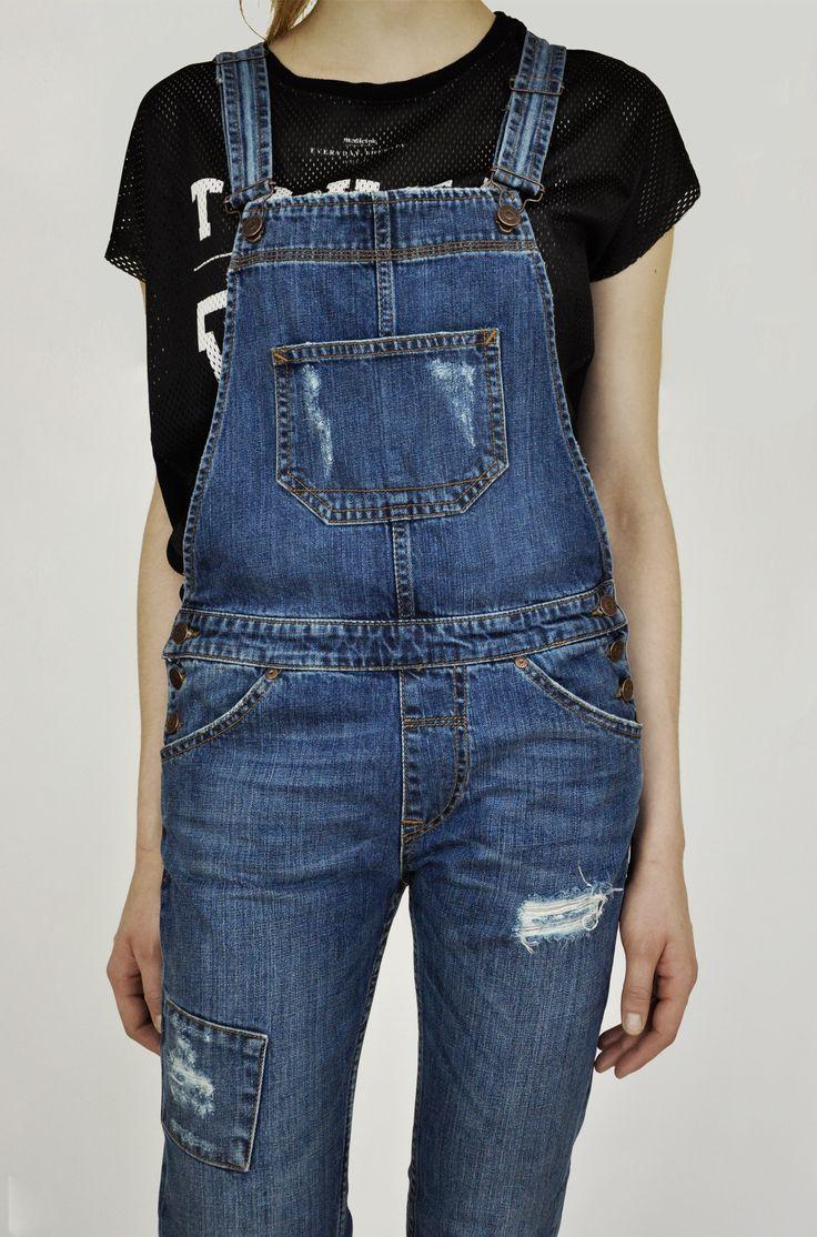 #Ogrodniczki #Cross #Jeans #jeansy #damskie Niebieskie ogrodniczki damskie Cross Jeans.