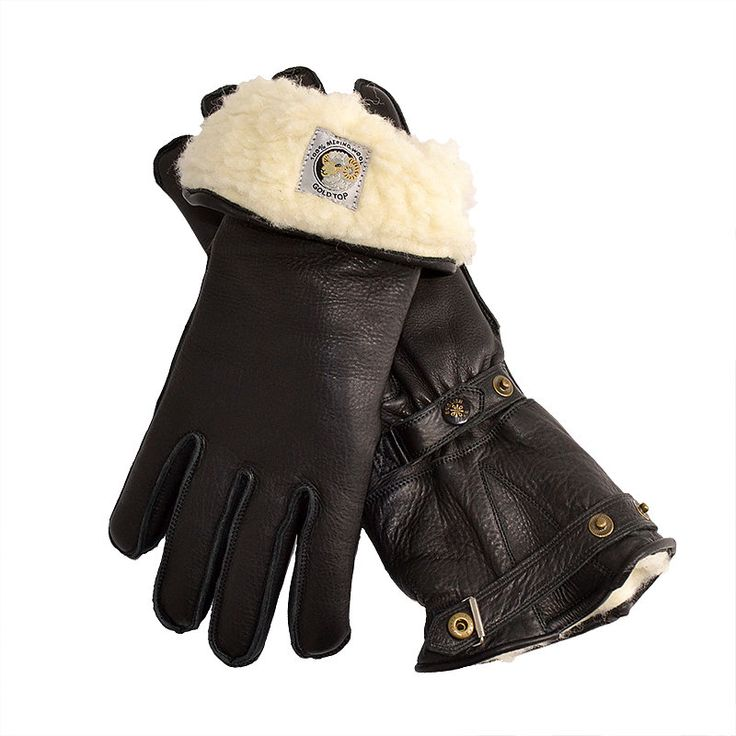 100% Merino Wool Lined Windstopper Leather Motorcycle Gauntlets by Goldtop. The Best Longer Warm Winter Motorcycle Gloves in Black with Classic Press Studs and Fastenings