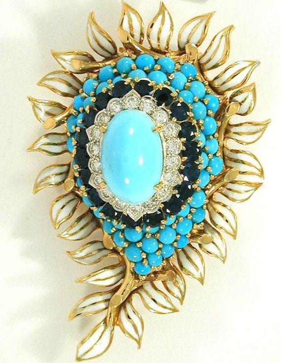 1940s Turquoise Sapphire 18K Pin David Webb by FineEstateJewelry, $11000.00