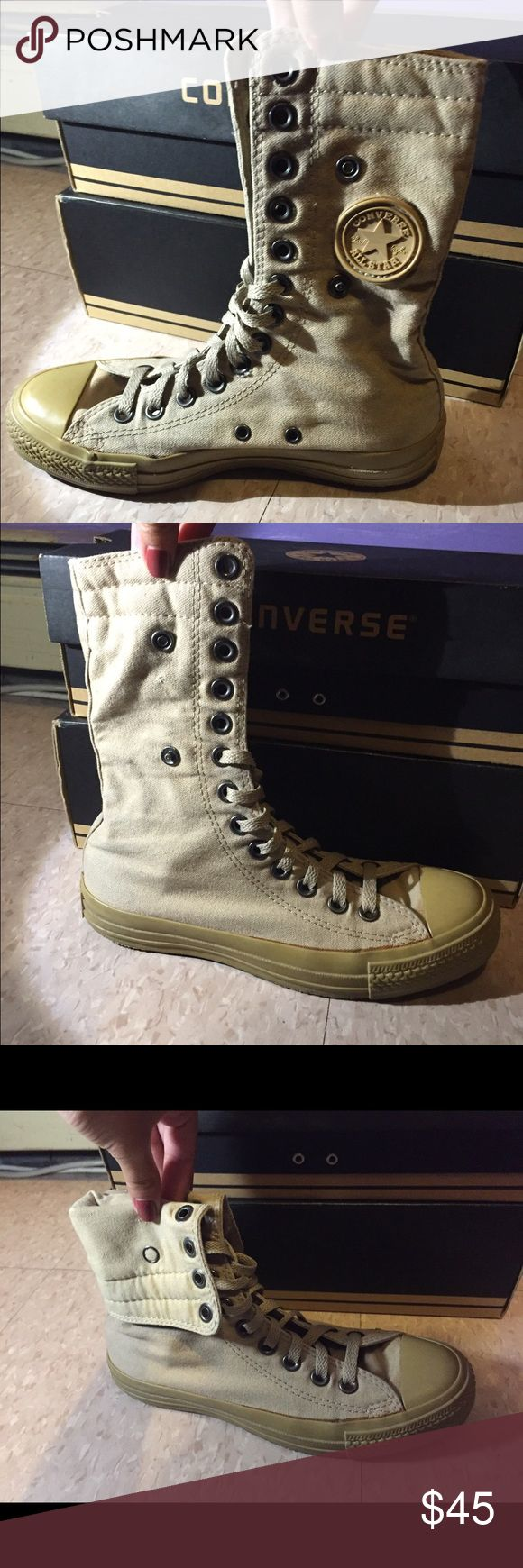 Tan hi top Converse Tan high top Converse, well loved but still have so much use left in them. They can be used as regular high tops by turning the flaps over and snapping them in place with the buttons on the left and right. They do have some wear at the bottom but are otherwise in good condition. Make an offer! (Size is a mens 4, women's 6) Converse Shoes Sneakers