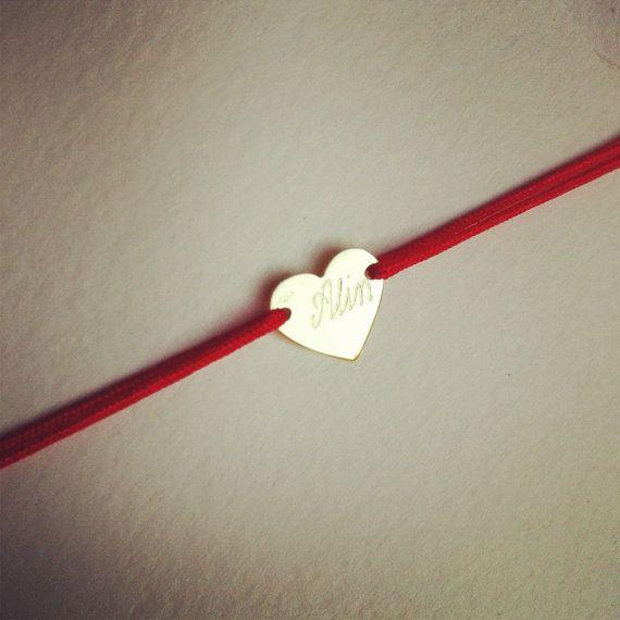 Personalized 14K SOLID gold heart bracelet custom by Ingriko