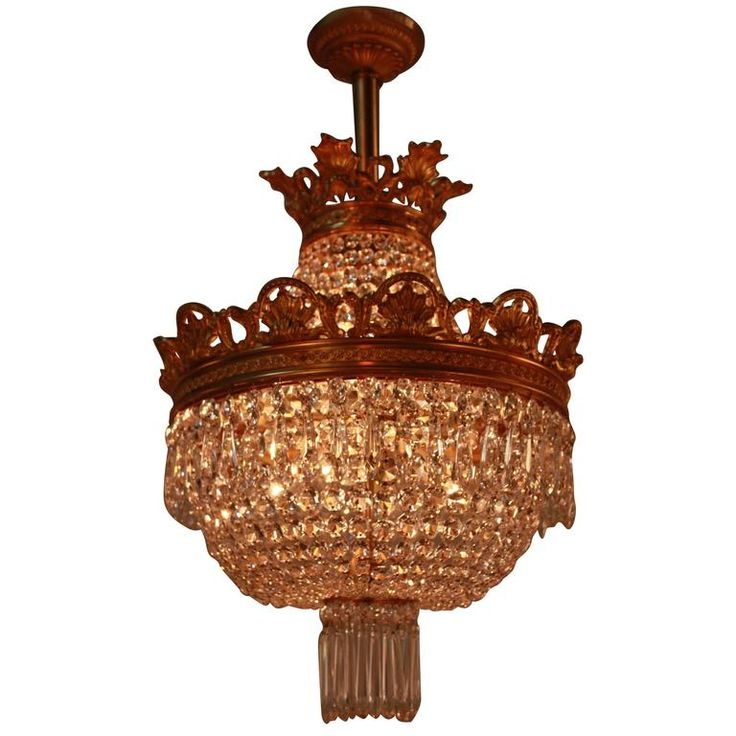 French 1930s Crystal and Doré Bronze Chandelier   From a unique collection of antique and modern chandeliers and pendants at https://www.1stdibs.com/furniture/lighting/chandeliers-pendant-lights/