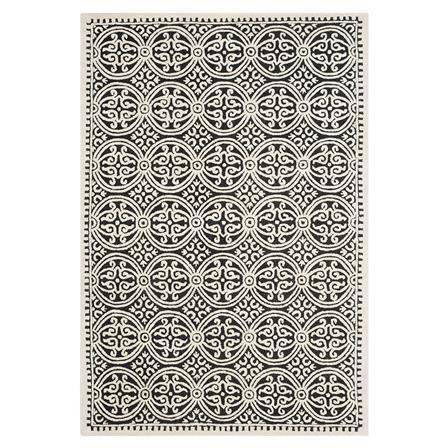 ACHICA | Marina Textured Area Rug, Ivory/Black - Choose Size