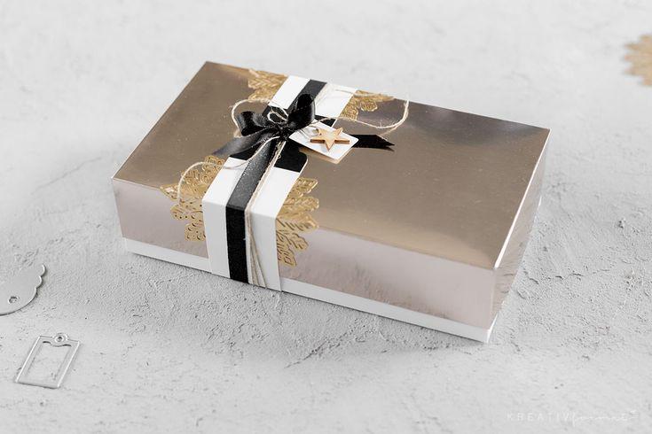 Eine Weihnachtsverpackung, welche mit der Metallic-Folie in Champagner und Gold von Stampin' Up!