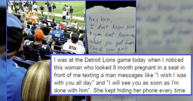 Guy Witnesses A Woman Cheating At a Detroit Lions Game and Subtly Passes Her Husband A Note
