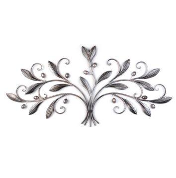 Olive leaf motif, Silver Metal Olive Leaves Plaque