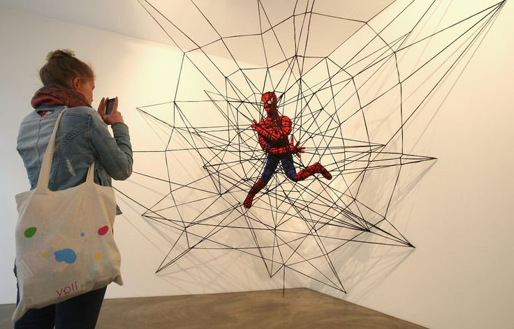 """The knitted sculpture """"Spiderman"""" by Patricia Waller 2"""