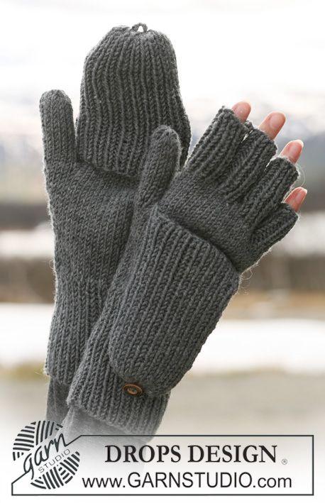 """DROPS Handschuhe mit Klappe in """"Merino Extra Fine"""".  Kostenlose Anleitungen von DROPS Design."""