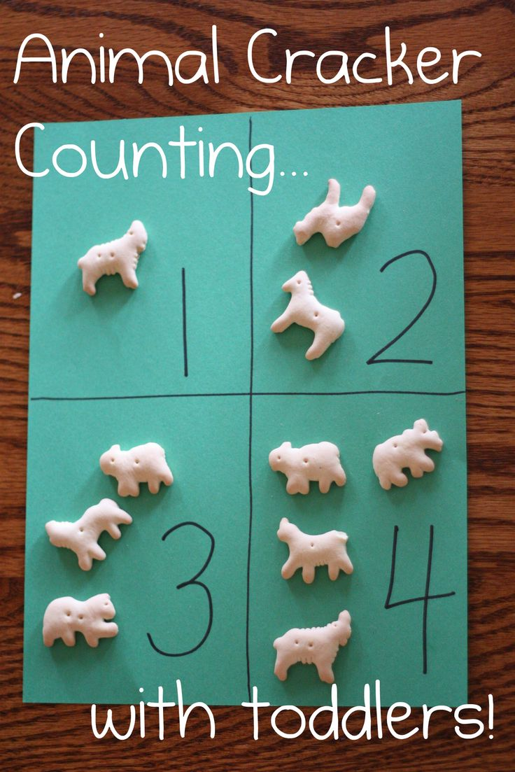 animal cracker counting.   Could be done with higher numbers. Could also be done with simple addition.