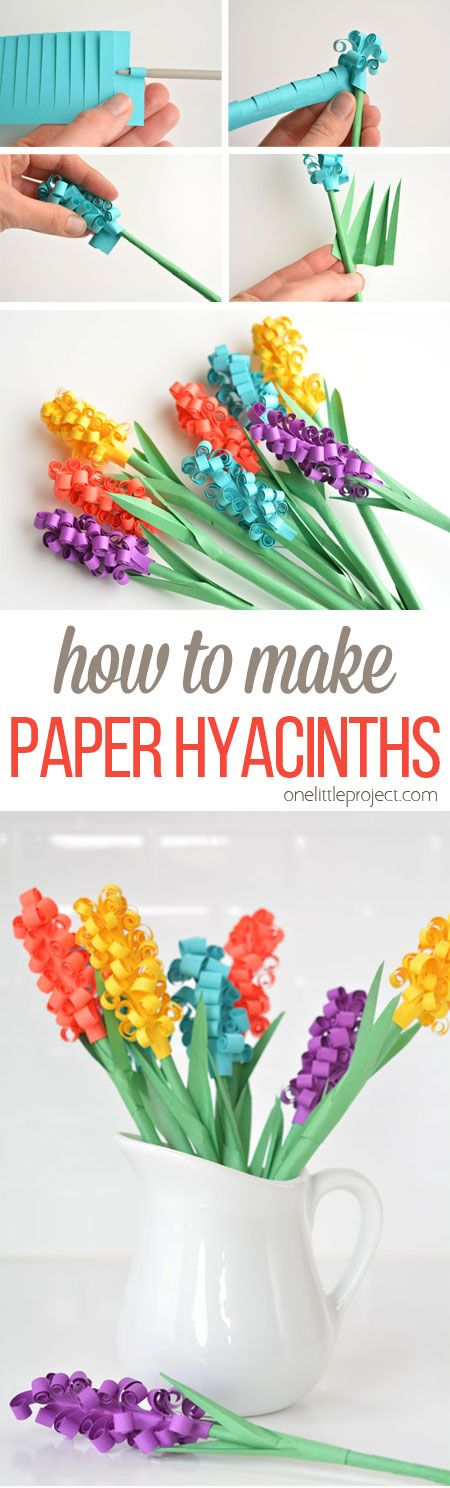 These paper hyacinth flowers are easy to put together and make a gorgeous DIY bouquet! Such a fun spring craft idea! #diy #crafts