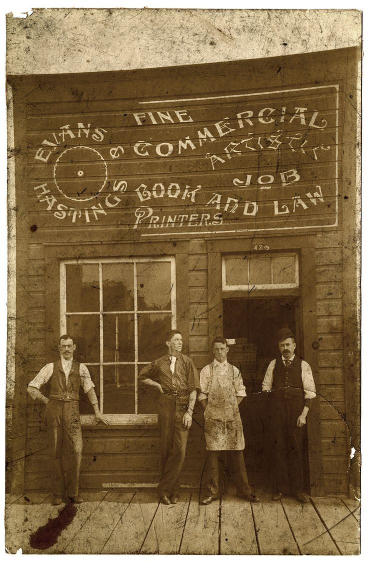 Color printing downtown vancouver - Printers Outside Evans And Hastings Print Shop Vpl Accession Number 14 Date 189