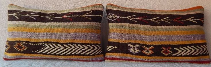 12''x20'' Paired Aztec Patterned Kilim Lumbar Pillow Covers Set of Two Cushions #Handmade #Mediterranean