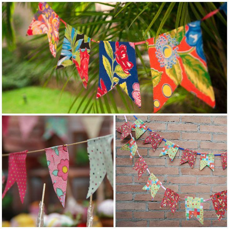 Bandeirinhas de pano estampadas para festa junina