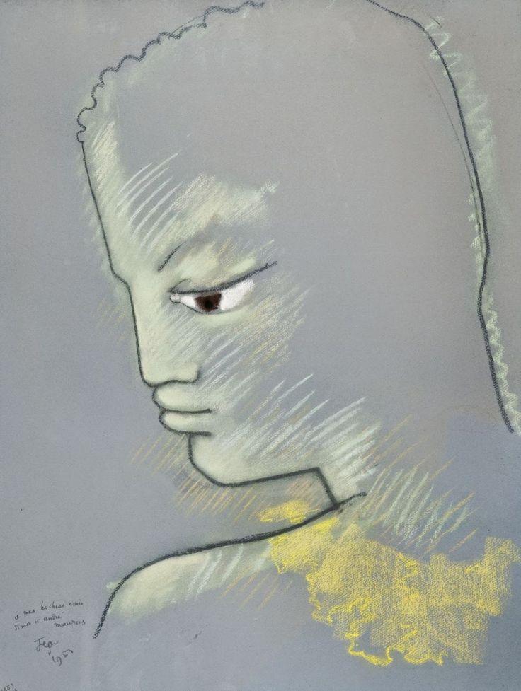 Jeune homme de profil, 1954 (A mes très chers amis Simon et André Mauras), by Jean Cocteau
