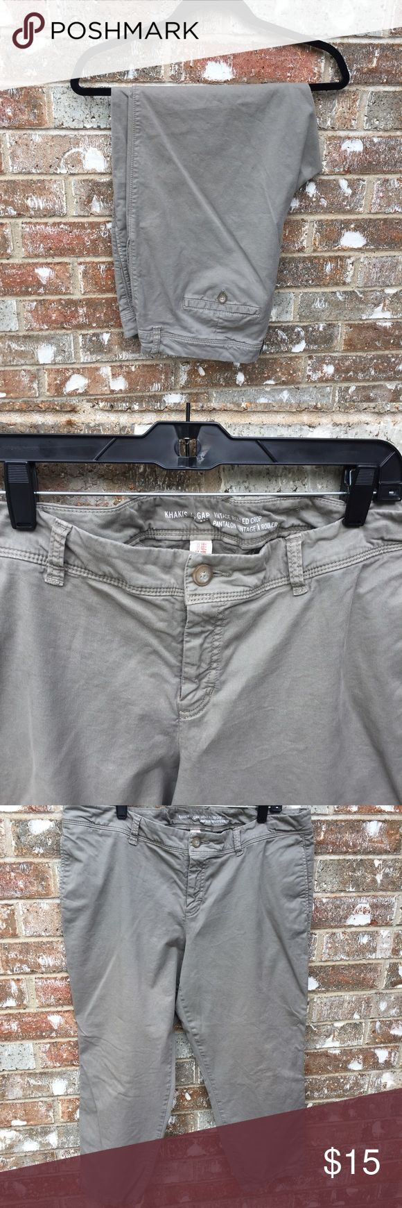 Gap Outlet Olive-Khaki Rolled Crops Really cute and in EUC. These are size 18 from Gap Outlet. Ankle/Crop rolled hem can be left down too. Sort of an olive/Khaki blend of color. GAP Pants Ankle & Cropped