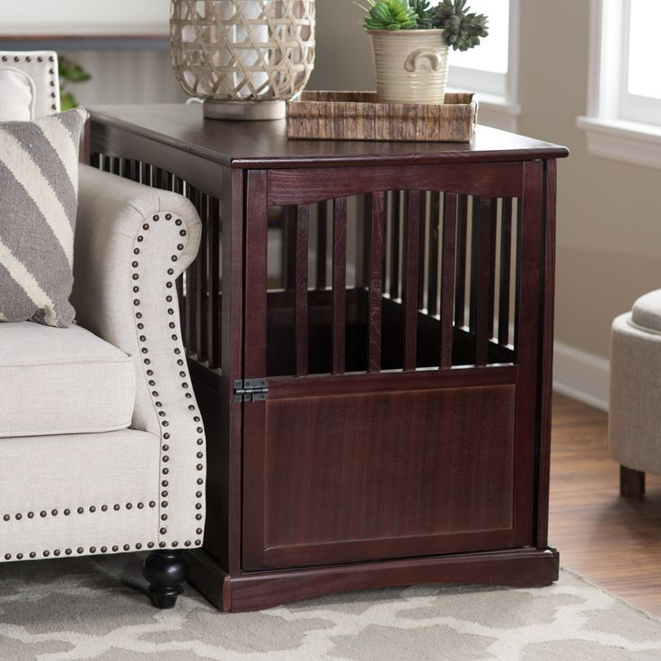 Newport Pet Crate End Table - Well-ventilated for maximum comfort, this Newport Pet Crate End Table is a deluxe in design and perfect for medium-sized dogs. The end table dog c...