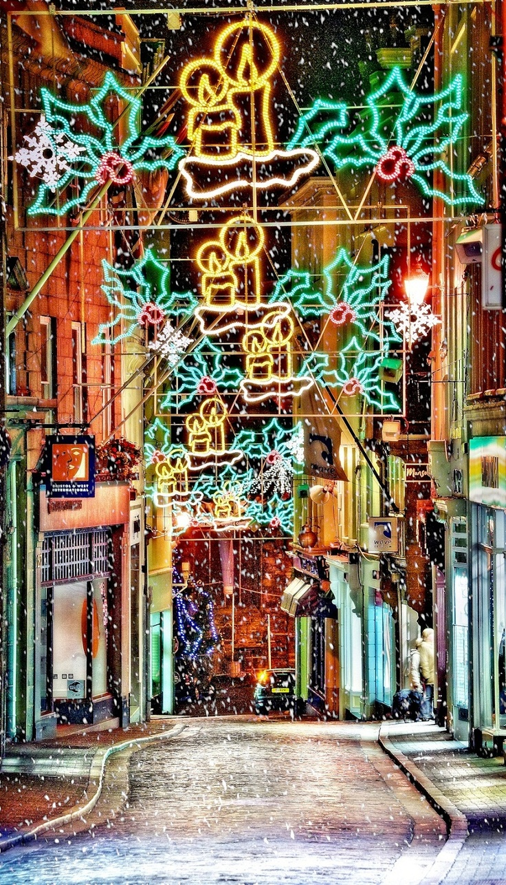 Christmas lights in the High Steet, Guernsey