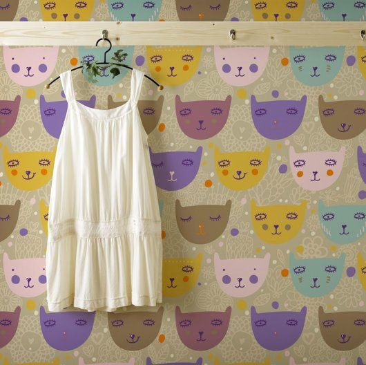 kitty wallpaper. One accent wall or a few banner lines would be adorable!