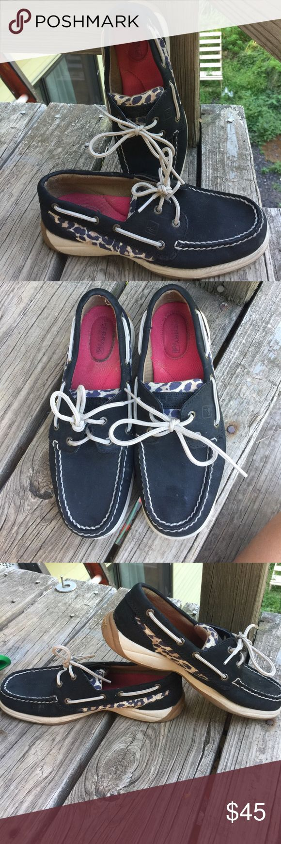 Black leopard Sperry Intrepid boat shoes Like new condition! Worn once! Black leopard Intrepid boat shoes. Sperry Top-Sider Shoes