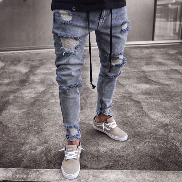 Mens Ripped Jeans Pants Skinny Motorcycle Biker Frayed Distressed Denim Trousers