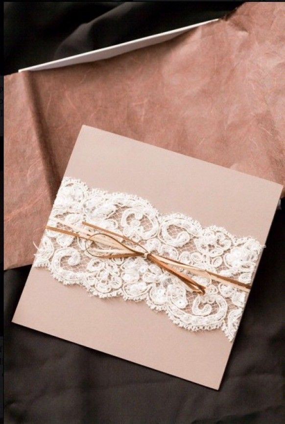 Homemade wedding invitations with lace