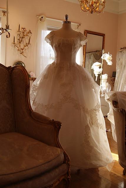 Vintage Wedding Gown. 1954 Priscilla of Boston - Silk Princess gown