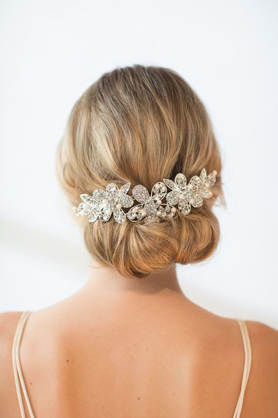 Bridal Head Piece, Wedding Hair Swag, Bridal Crystal Head Piece