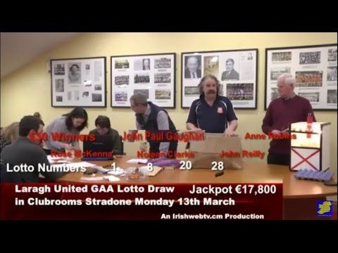 Laragh United Lotto Draw Monday 13th March Irishwebtv com Production