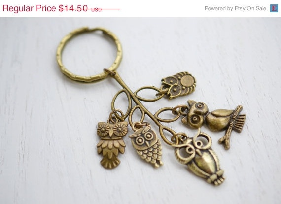 Owl Charm Keychain Keyring, Cluster Charm, Antique Brass, Key Ring Owl Charms, Leaf and Owl, Tree Brass Owl accessory, Bird Charm Keyring. $10.88, via Etsy.
