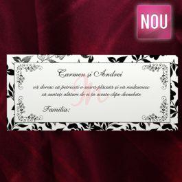 Plic de bani alb si negru cu inseratii florale lacuite partial, aplicat pe imaginile florale. Textul este incadrat intr-un chenar alb .