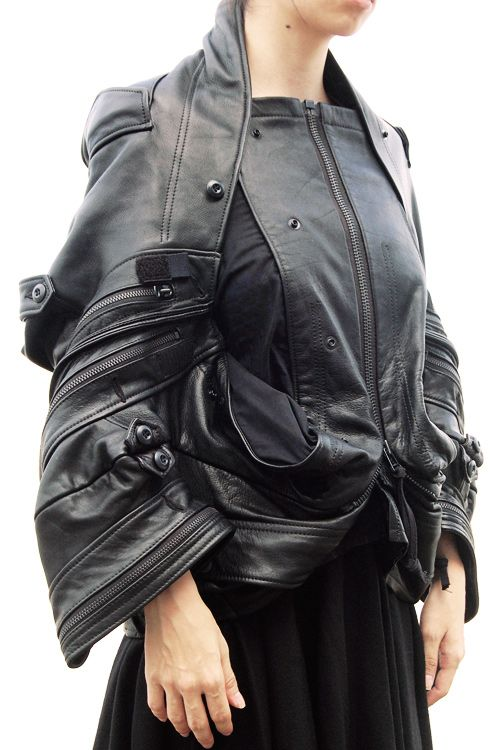 Deconstructed Leather Jacket - sustainable fashion design inspiration; upcycled clothing // Comme des Garcons