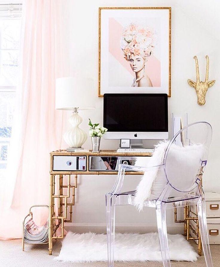 Lovely Office Home Office Idea Feminine Workspace #LL