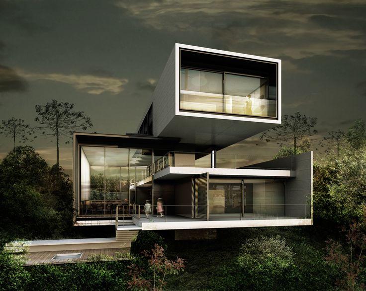 Resid ncia brm o projeto com estrutura ousada com balan os - Casa estructura metalica ...
