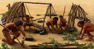 Image result for diorama of prehistoric men making tools