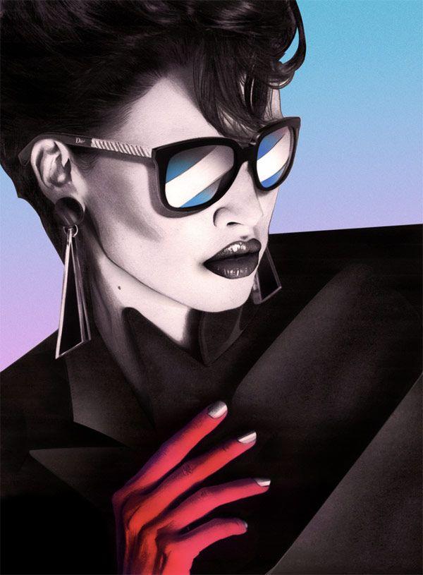 Illustration rétro d'une femme à lunette avec une coiffure des années quatre vingts.