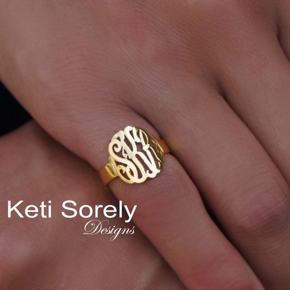 Hand Cut Monogram Ring - Initials Ring - Customize It With Your Initials - 10K/14K Solid Gold, Silver or 14k Goldfilled
