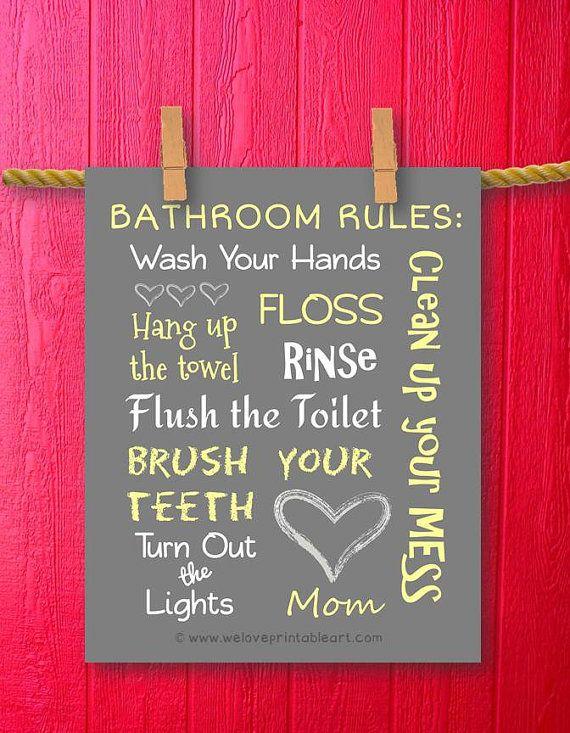 BathrooKids Bathroom Rules Decor Art Sign by WeLovePrintableArt