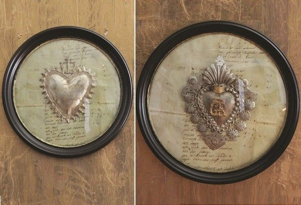 Framed Tin Sacred Hearts With Convex Glass - From Antiquefarmhouse.com - http://www.antiquefarmhouse.com/current-sale-events/glam-french-accents/round-framed-tin-sacred-hearts-with-convex-glass.html