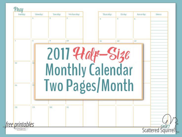 2017 Half-Size Monthly Calendar Printables | Calendar