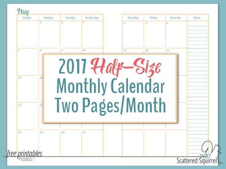 2017 Half-Size Monthly Calendar printable - each month is spread across 2 half-size pages to maximize writing space. Each month prints on one US letter size page. Cut in half to create two half-size pages.