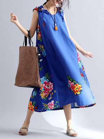 Chinese Style Women Printed Patchwork Sleeveless Hooded Dresses