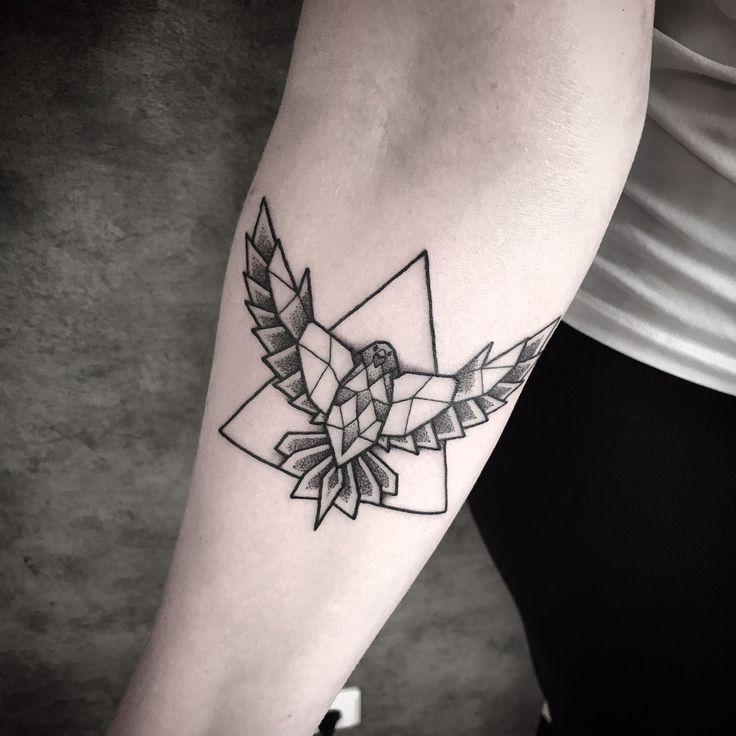 Geometric Falcon Tattoo #tattoo #tatts #falcon #geometric #triangle #valk