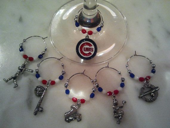 Chicago Cubs Baseball Wine Charms