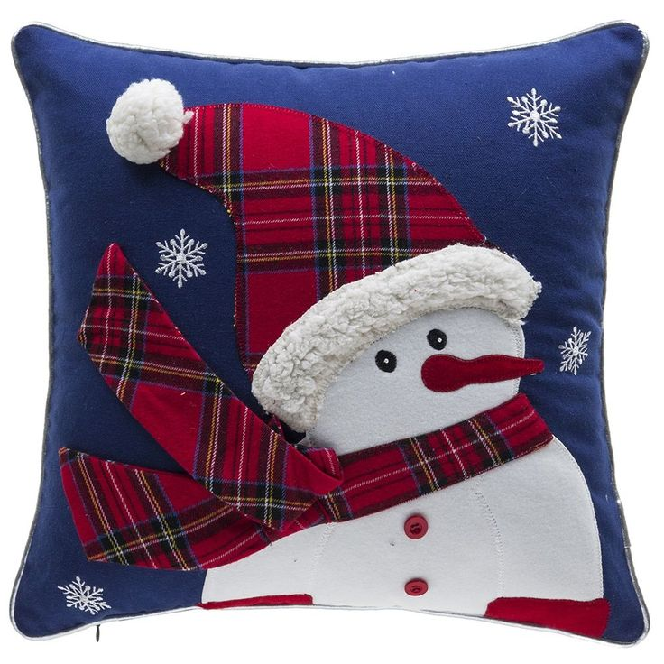Embellish your favorite chair for the holidays with this festive throw pillow. This square pillow features an adorable snowman applique and a down insert for softness. Set Includes: One Pillow Pillow